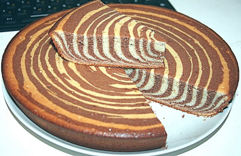 Пошаговый фото рецепт пирог зебра